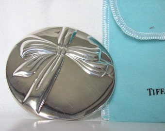Vintage Tiffany Silver Plated Bow Hand Held Purse Mirror Ribbon