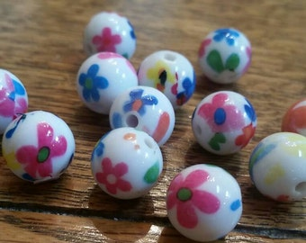 11mm Acrylic Floral Beads