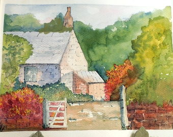 Original Watercolor English Cottage