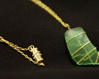 Wire Wrapped Green Sea Glass Necklace