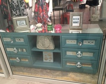 Mirrored Dresser Provence with Quatrefoil Overlay, Unique vfish showroom dresser