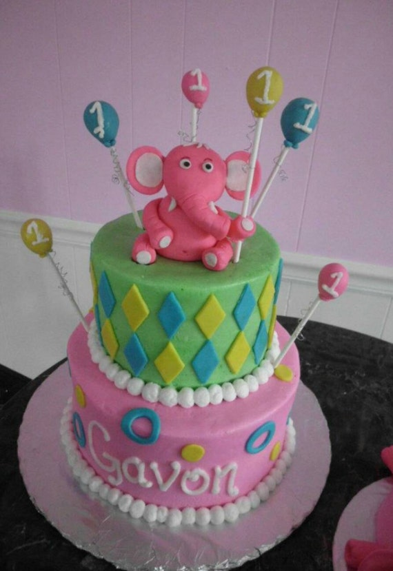 Edible Elephant Cake Decorations : Items similar to Handmade Edible Fondant Pink Elephant ...