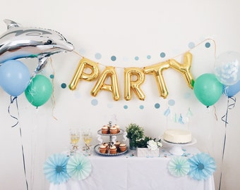Under the Sea Party Box by OhShinyPaperCo - party letter balloons dolphin balloon seahorse cake topper mini tassel garland confetti balloon