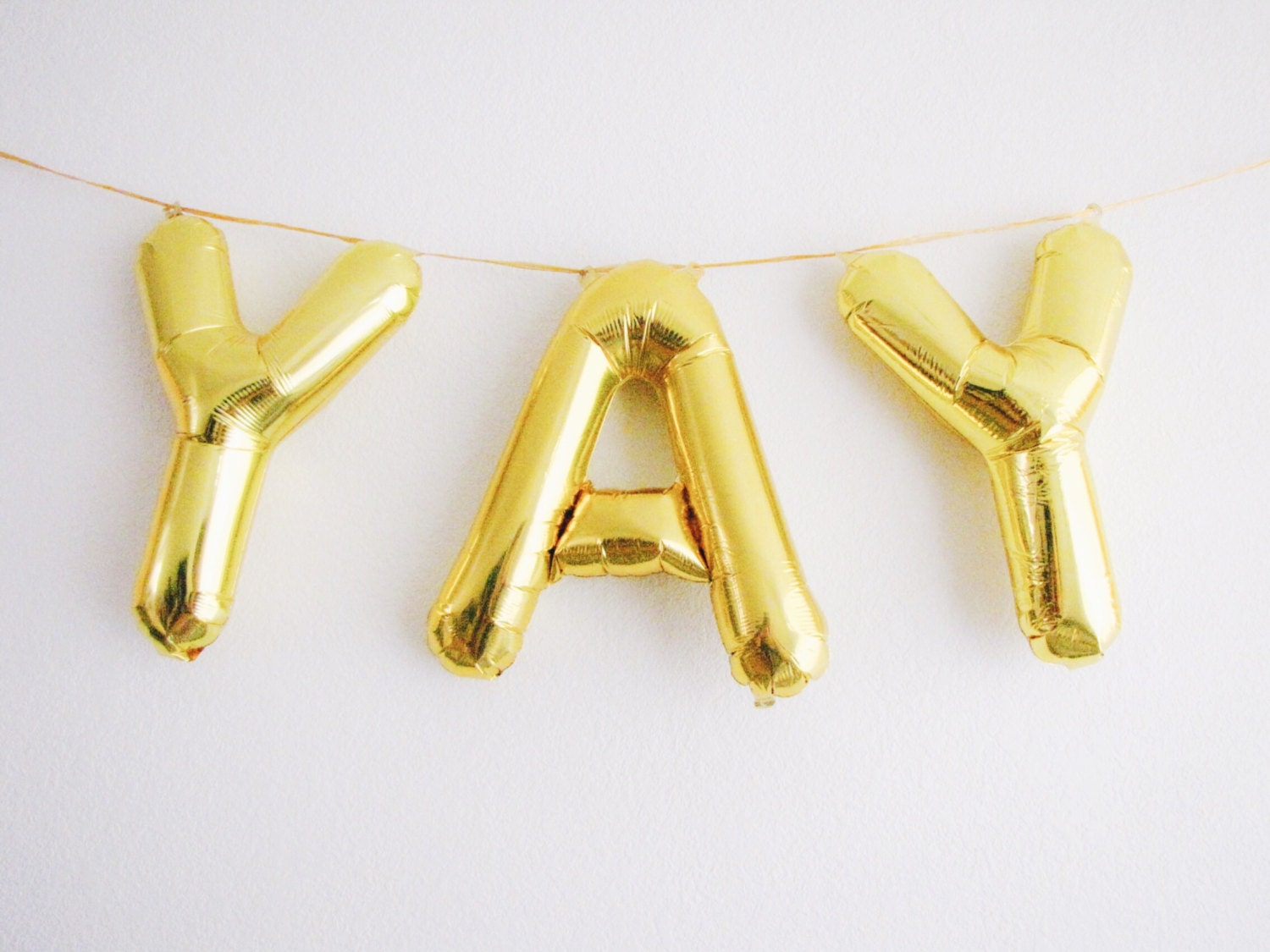 Yay letter balloons gold foil mylar letter by ohshinypaperco for Gold letter balloons