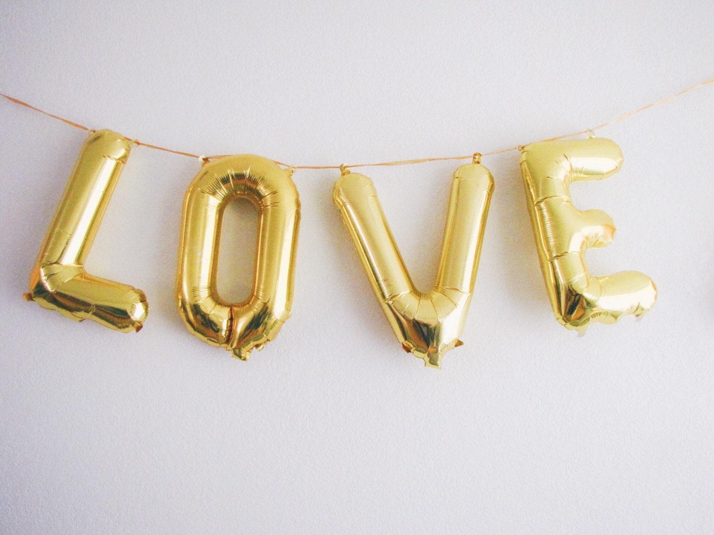 Love letter balloons gold foil mylar letter by ohshinypaperco for Gold letter balloons