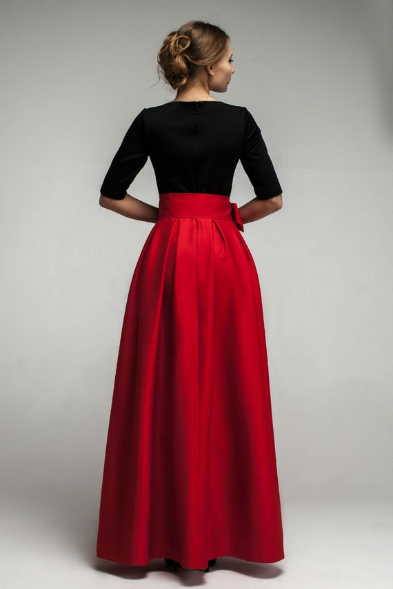 Red Formal Maxi DressAsymmetrical Skirt Dress with
