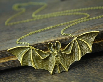 antique bat man necklace bat jewelry Vampire necklace Christmas gift N8A