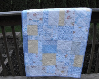 baby quilt,  boy quilt, crib quilt,  handmade quilt, minky baby,  patchwork baby quilt,  nursery gift, blue baby blanket, throw, blanket