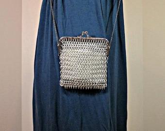 Small chainmaille handbag, kiss clasp purse, silver handbag, metallic purse, geek goth, Victorian coin purse