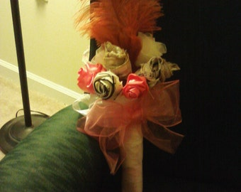 Burlap & Fabric Rose Bouquet with Feather