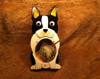 Handmade Wooden Banks Boston Terrier