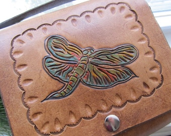 Leather Purse Dragonfly Purse Leather Gift Gift for Her Leather Bag Hand Carved Leather Accessory