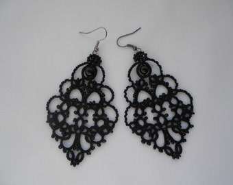 Trendy Black Lace Earrings with black agat Long  Tatted Handmade Earrings Victorian  Dangle Beaded Statement Earrings Jewelry Womens gift