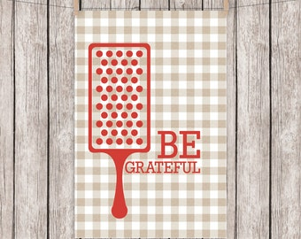 Printable Kitchen Art Typography Print Be Grateful Greatful Retro Wall Art 4x6 Instant Download Digital File