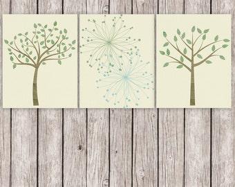 Spring Printable Art Set Dandelions Flowers Trees Woodland Nature Art Print Set, Wall Art 8 x 10 Instant Download Digital File