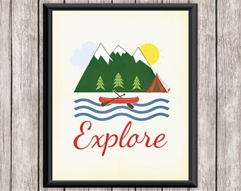 Camping Printable Art, Quote, EXPLORE Mountains Canoe Art Print, Wall Decor, Wall Art 8 x 10 Instant Download Digital File