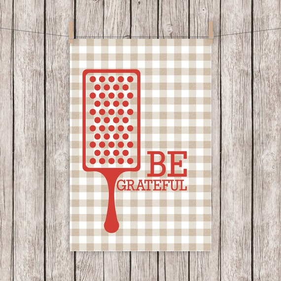 Be Grateful Kitchen Art: Printable Kitchen Art Typography Print Be Grateful Greatful