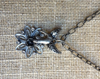 Hummingbird and flower necklace, pewter tone
