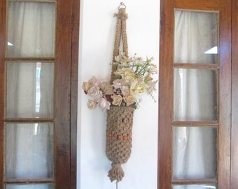 "29"" Handmade macrame wall pockets wall decor bottle holder fower holder natural  jute,vintage style natural brown"