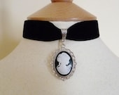 Black Velvet Ribbon Choker with white and black cameo Pendant Pagan Gothic Wiccan Medieval Wedding
