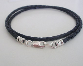 Mens Leather Sterling Silver Necklace, Black or Brown Leather Braid, 925 Sterling Silver, gift for men, husband gift, brother gift, handmade