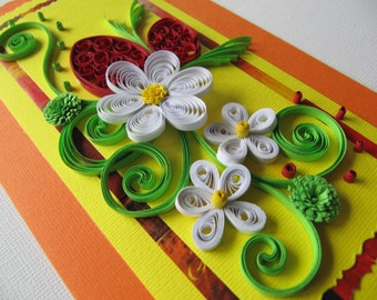 Easter Greeting Card - Quilling Card-Eggs and Flowers