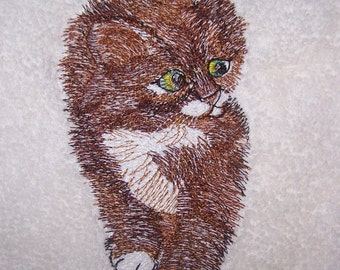 Personalised embroidered  Kitten  bath towel (100% cotton)