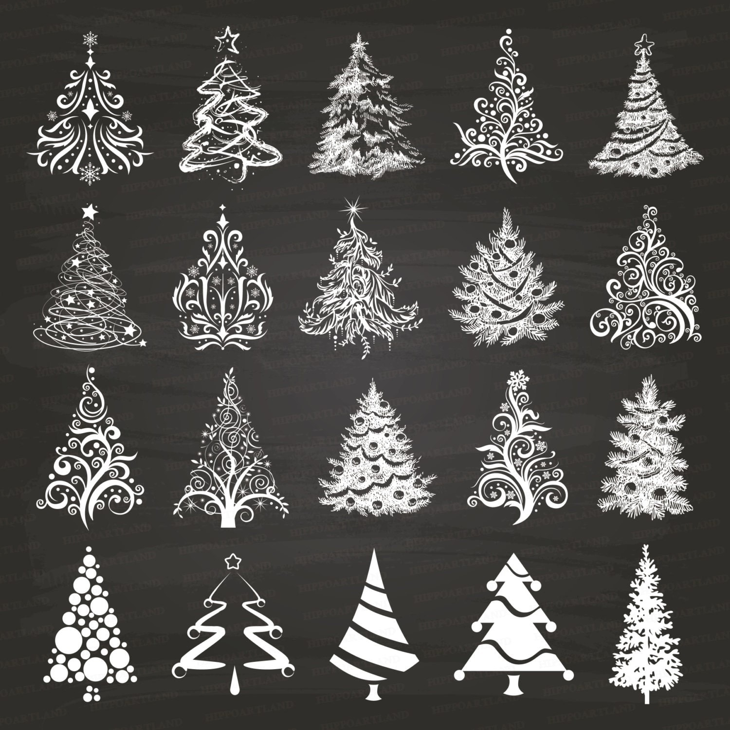 Chalkboard Christmas Tree Clipart. Xmas Trees. by Hippoartland