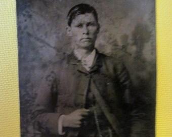 Vintage Tin Type Photo - Serious Young Man