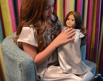 """Matching Doll Nightgown and Girls Nightgown. This is a SET of 2 nightgowns. 1 Fits 18"""" Doll, American Girl, or Stuffed Animal."""