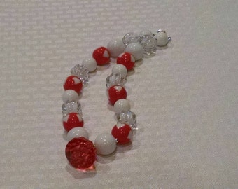 Red Heart White Clear Necklace