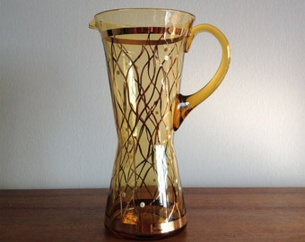 Mid Century Amber Glass Pitcher, Hand Painted
