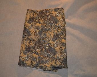 Destash- Tan and Gray Paisley Floral Cotton Fabric Remnant