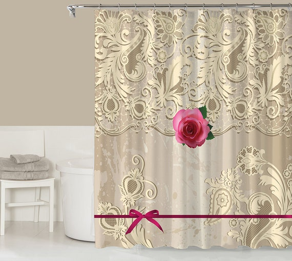 Items similar to victorian style shower curtain for Cream bathroom accessories