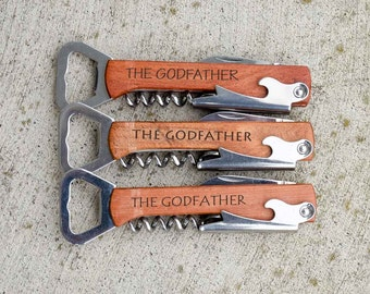 The Godfather, Godfather Gift, Personalized Godfather gift, Bottle Opener, Corkscrew, Engraved Bottle Opener, Stocking Stuffer, Fathers Day