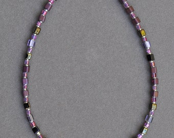 Purple and Silver Anklet
