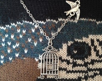 freedom necklace, Bird fly away from cage,Graduation Necklace,Bird Cage Necklace