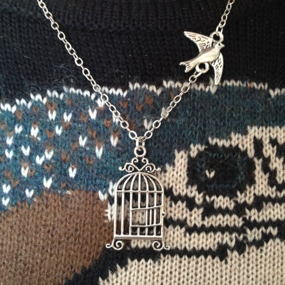 freedom necklace  Bird fly away from cage Graduation Necklace Bird    Bird Freedom From Cage