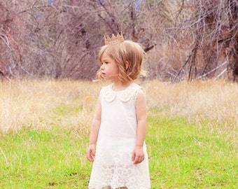 The Charlotte dress-Vintage Ivory Toddler Dress- Easter Dress- Peter Pan Collar Dress