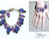 Resin Transparent Bracelet Violet Butterfly Wings