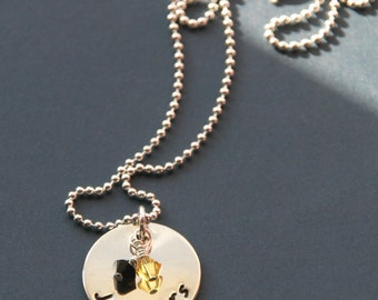 Hand Stamped School Pride Necklace, Custom High School Necklace, Custom College Necklace, Personalized School Necklace, Graduation Gift