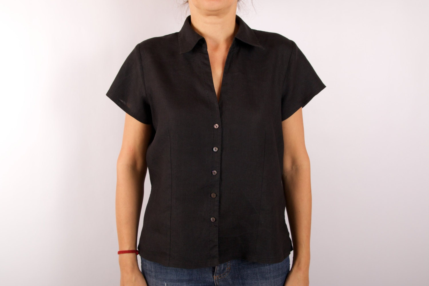 black linen womens blouse short sleeve boxy shirt by