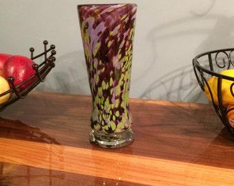 Beautiful Eye Catching Purple, Violet, Lavender and Lime Aventurine Handmade Hand Blown Glass Vase