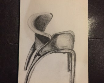 "10"" x 7.5"" ORIGINAL Pencil Chair Sketch"