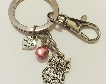 Owl Charm, Pink Bell Keychain Made With Love