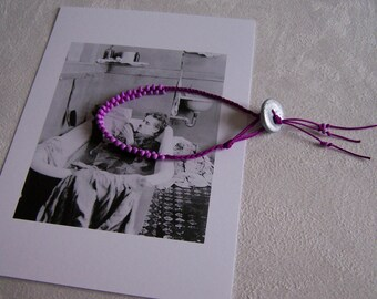 Bracelet purple braided rope purple beads button polymer clay silver Thin pink bracelet  pink braided rope