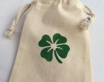 St Patricks Treat Bag/ Favor Bag/ Gift Bag Irish Four Leaf Clover Drawstring Bag,  St Patricks Day Favor Bags, Shamrock Gift Bag, Irish Gift