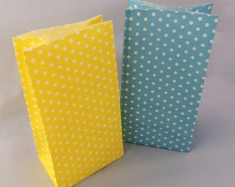 Polka Dot Paper Candy Bags: 20+ Blue and Yellow Spotted Treat Bags, Easter Loot Bags, Spring Favor Bags, Paper Goody Bags