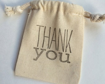 Thank You Favor Bag: Reusable Thank You Drawstring Muslin Bags, Thank You Gift Bag, Thank You Treat Bag