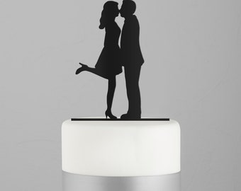 Wedding Cake Topper - Kissing Couple Silhouette Acrylic Cake Topper - Bride and Groom Silhouette - Wedding Keepsake - A Kiss and We're Off